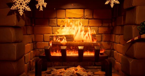 ウィンターフェストロッジの暖炉のそばで温まる
