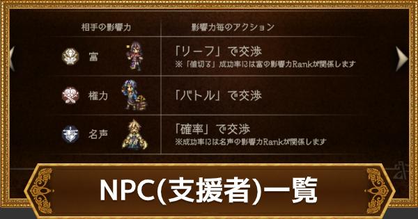 NPC(支援者)一覧