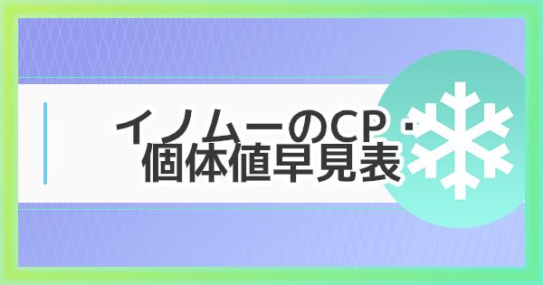 イノムーのCP・個体値早見表