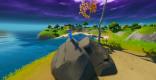 高い場所にある石に埋まったスカイの剣を見つける