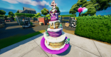 ケーキの前でダンスする