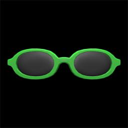 オーバルめがね緑緑