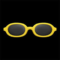 オーバルめがね黄黄