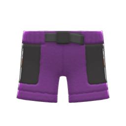 ボアハーフパンツ紫黒