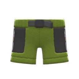 ボアハーフパンツ緑黒