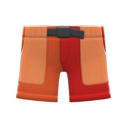 マルチカラーのハーフパンツ赤オレンジ