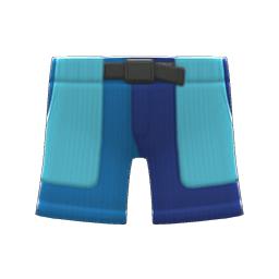 マルチカラーのハーフパンツ青水