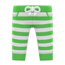 ボーダーパンツ緑白