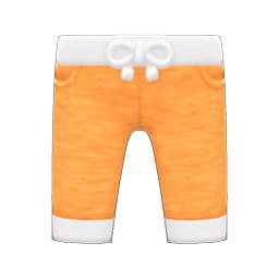 フィットネススウェットパンツオレンジ白