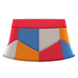 レザーパッチスカート赤青