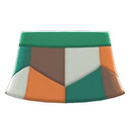 レザーパッチスカート緑オレンジ