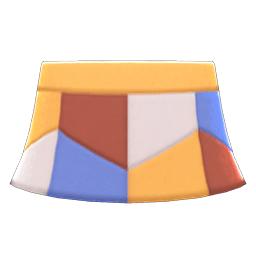レザーパッチスカート黄茶