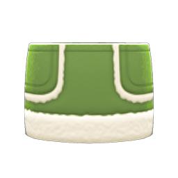 ムートンスカート緑白