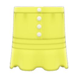 まえボタンレースのスカート黄黄