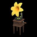 ユリのレコードプレーヤー黄茶