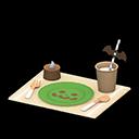 ハロウィンテーブルセッティングベージュ緑