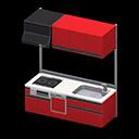 システムキッチン赤黒