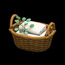 ラタンのタオルバスケット茶白