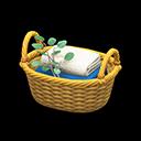 ラタンのタオルバスケット黄白