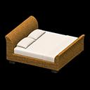 ラタンのベッド白茶