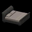 ラタンのベッドグレー黒