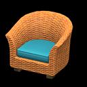 ラタンのソファ水オレンジ