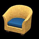 ラタンのソファ青黄