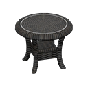 ラタンのサイドテーブル黒黒