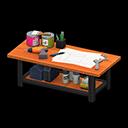 アイアンウッドDIYテーブルオレンジ黒