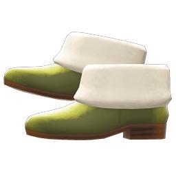 ファーブーツ緑白