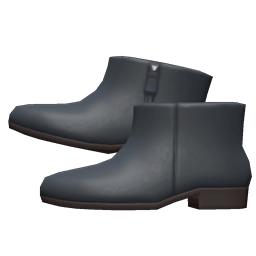 レザーのショートブーツ黒黒
