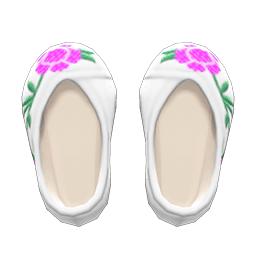 ししゅうのくつ白ピンク