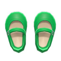 ストラップシューズ緑緑