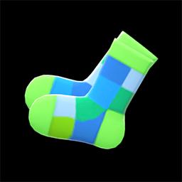 マルチブロックソックス緑カラフル