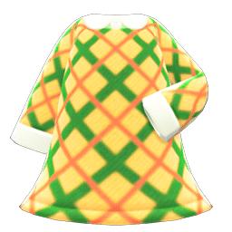 ツイードワンピース黄緑
