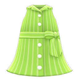 そでなしシャツワンピ緑緑
