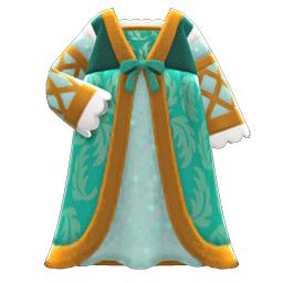 ルネッサンスなドレス緑ベージュ