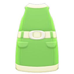 レトロボックスワンピース緑白