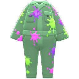 ペイントつなぎ緑カラフル