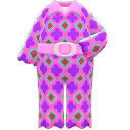 サイケなつなぎ紫ピンク