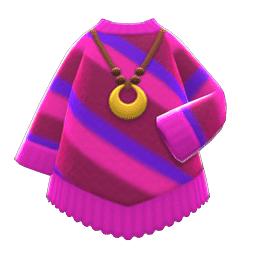 ポンチョふうニット紫赤