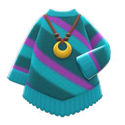 ポンチョふうニット青紫