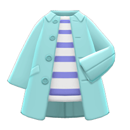 ステンカラーコート水青