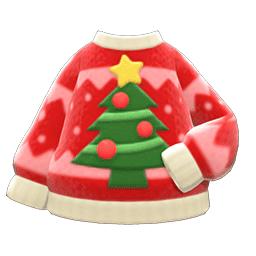 クリスマスセーター赤ベージュ