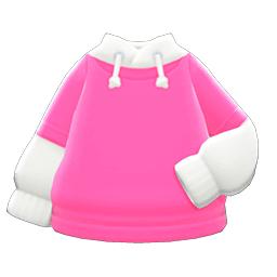 パーカーオンTシャツピンク白