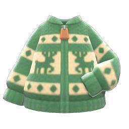 トナカイセーター緑ベージュ