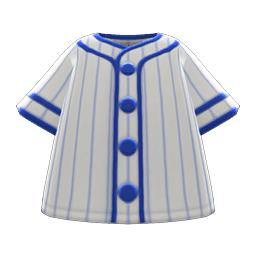 ベースボールシャツグレー青