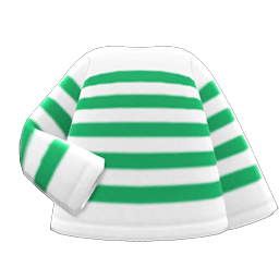 ボーダーTシャツ緑白