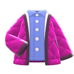 キルティングジャケットピンク青