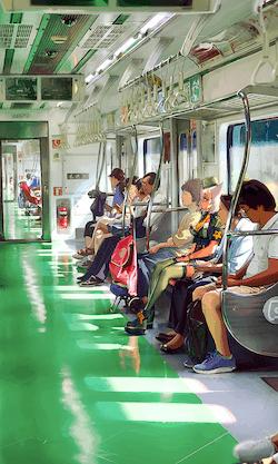 午後の列車の画像